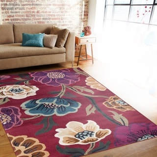 Modern Transitional Leaves Red Indoor Area Rug (5'3 x 7'3)