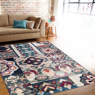 Patchwork Multi-colored Indoor Area Rug (5'3 x 7'3)