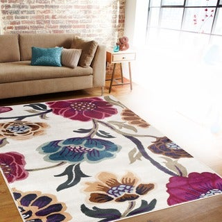 Modern Transitional Leaves Cream Indoor Area Rug (5'3 x 7'3)