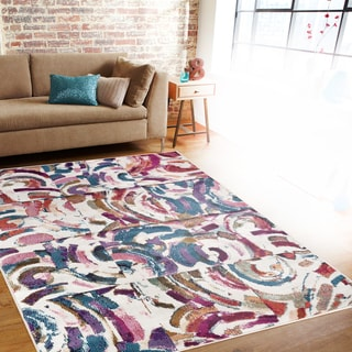 Distressed Geometric Boxes Multi-colored Indoor Area Rug (5'3 x 7'3)