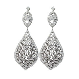 Sterling Silver Cubic Zirconia Floral Curved Teardrop Dangle Earrings
