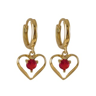 Sterling Silver Gold Finish Red Cubic Zirconia Heart Dangle Earrings
