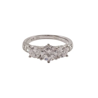 Sterling Silver Cubic Zirconia Three-stone Engagement Style Ring