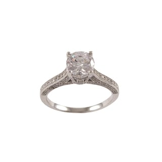 Sterling Silver Micropave Cubic Zirconia Engagement Style Solitaire Ring