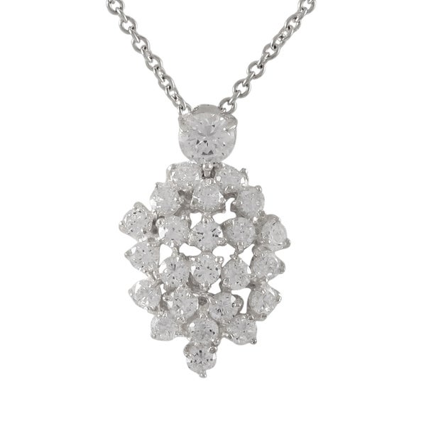 Sterling Silver Gold Finish Cubic Zirconia Cluster Pendant Necklace