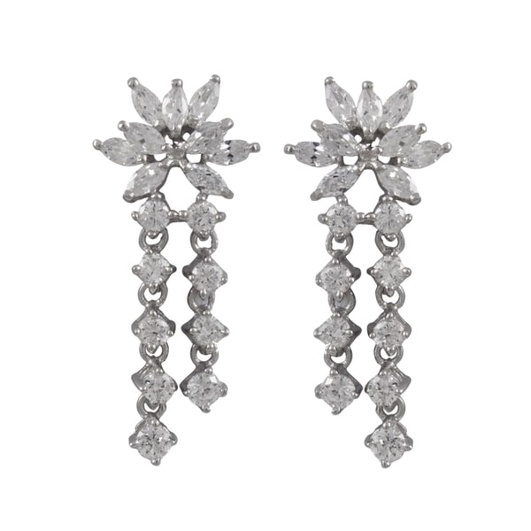 Sterling Silver Marquise Cubic Zirconia Cluster Drop Earrings