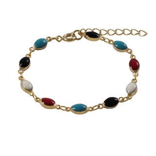 Gold Finish Children's Multi-color Enamel Oval Link Bracelet