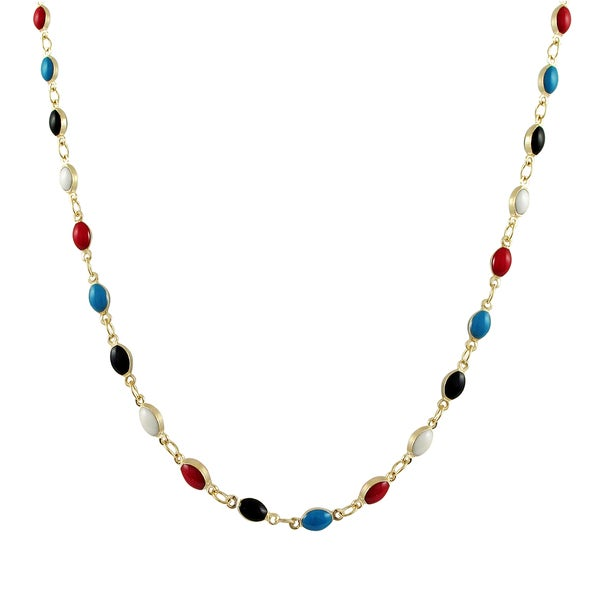 Gold Finish Multi-color Enamel Oval Link Necklace