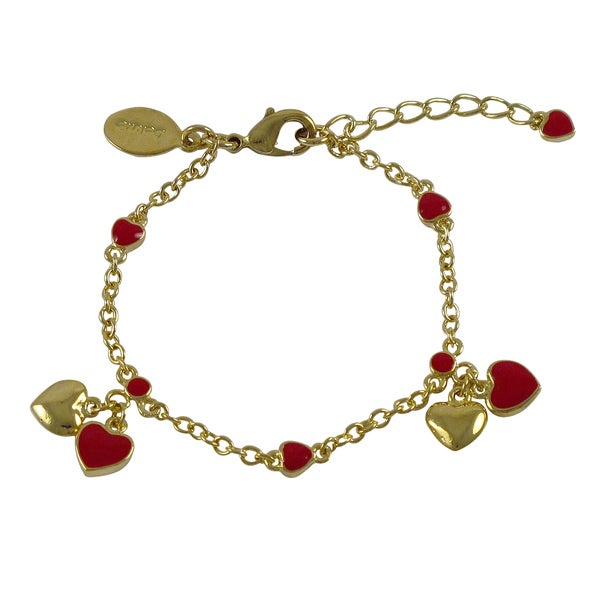 Gold Finish Children's Red Enamel Heart Charm Bracelet