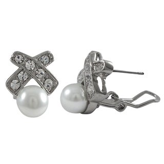 Rhodium Finish Faux Pearl and Crystals Ribbon Earrings