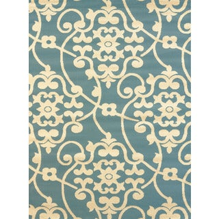 Effects Keeley Blue Multi-texture Accent Rug (2'7 x 4'2)