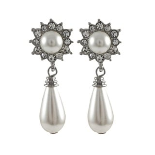 Rhodium Finish Faux Pearl and Crystals Teardrop Dangle Earrings