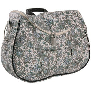 Minene Layla Retro Changing Bag, Cream with Green and Blue Flowers in Paisley Print