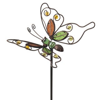 Butterfly Glass and Iron Red/ Green Garden Stake