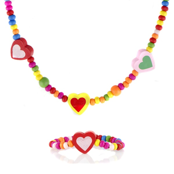 Crummy Bunny Multi-color Wooden Heart Necklace and Bracelet Set