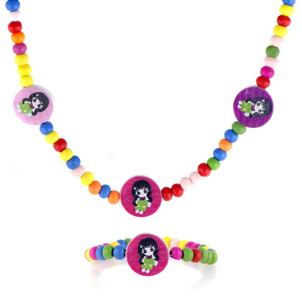 Crummy Bunny Multi-color Wooden Girls' Necklace and Bracelet Set
