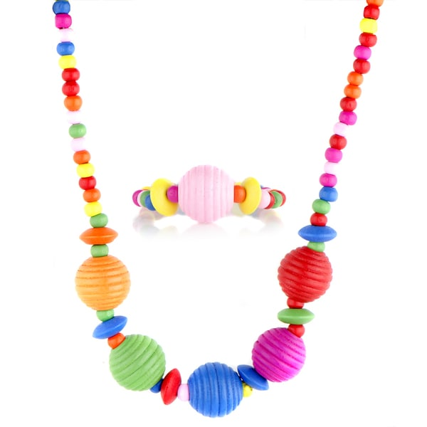 Crummy Bunny Girls' Wooden Necklace and Bracelet Set