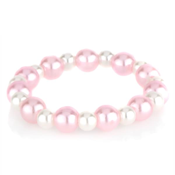 Crummy Bunny Pink and White Baby Girl Stretch Bracelet