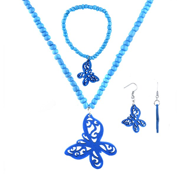 Crummy Bunny Girls' Blue Butterfly Jewelry Set