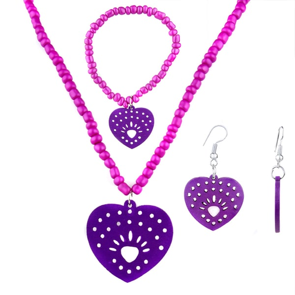Crummy Bunny Girls' Purple Heart Jewelry Set