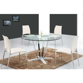 Casabianca Home Trevi Collection Metal/ Glass Round Dining Table