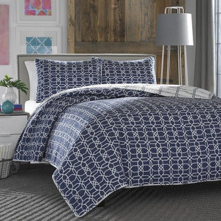 City Scene Puzzle Navy 3-piece Quilt Set
