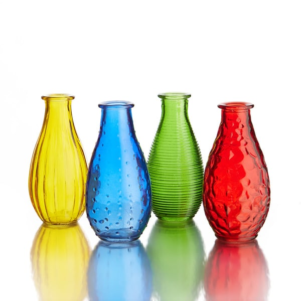 Fifth Avenue Crystal Small Gems Colored Glass Vases (Set of 2)