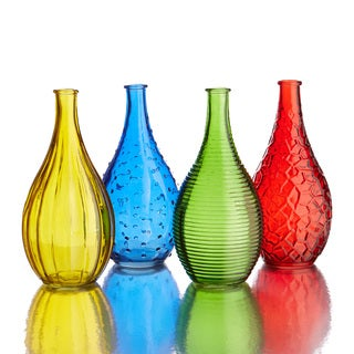 Style Setter Small Gems Colored Glass Vases (Set of 4)