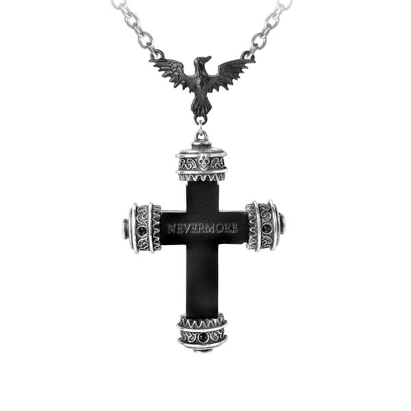 Antiqued English Pewter Nevermore Cross Pendant
