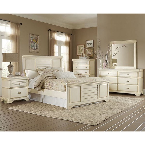 malina off white cottage style 5 piece bedroom set