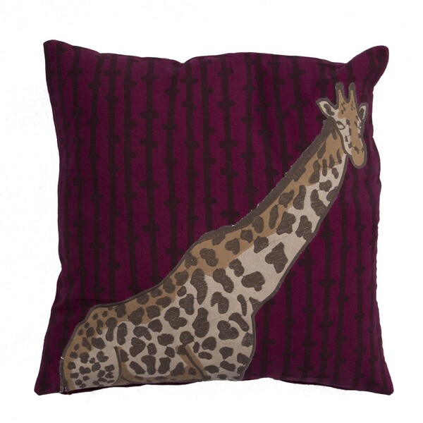 Animal Pattern Boysen Berry/Prune Cotton Throw Pillow 18-inch