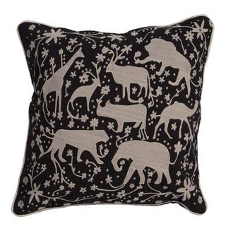 Animal Pattern Jet Black/Light Gray Cotton Throw Pillow 20-inch