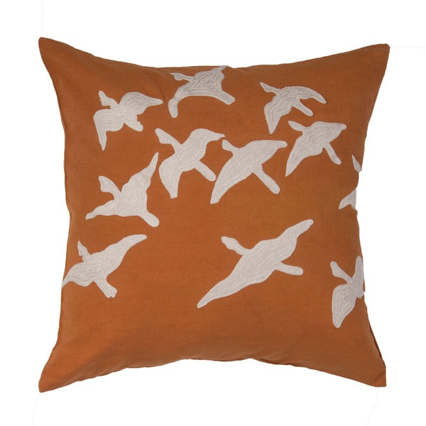 Animal Pattern Apricot Orange/SandShell Cotton Throw Pillow 20-inch