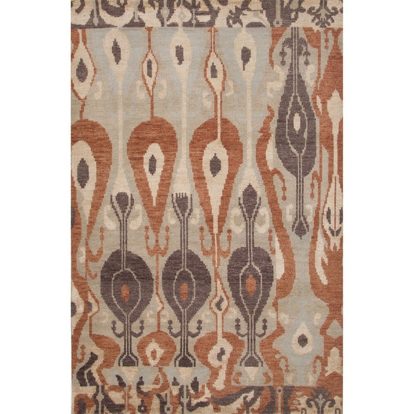 Hand-Knotted Oriental Pattern Abbey stone/Angora Wool (5x8) Area Rug