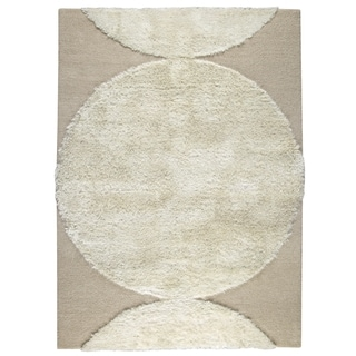 Indian Hand Tufted Wool Round White Area Rug (5'6 x 7'10)