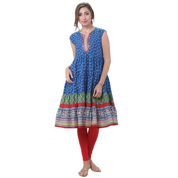 In-Sattva Women's Indian Daffodil Print Kurta Tunic With Flared Hem
