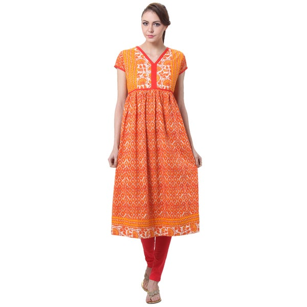 In-Sattva Women's Indian Contrast Prints Kurta Tunic
