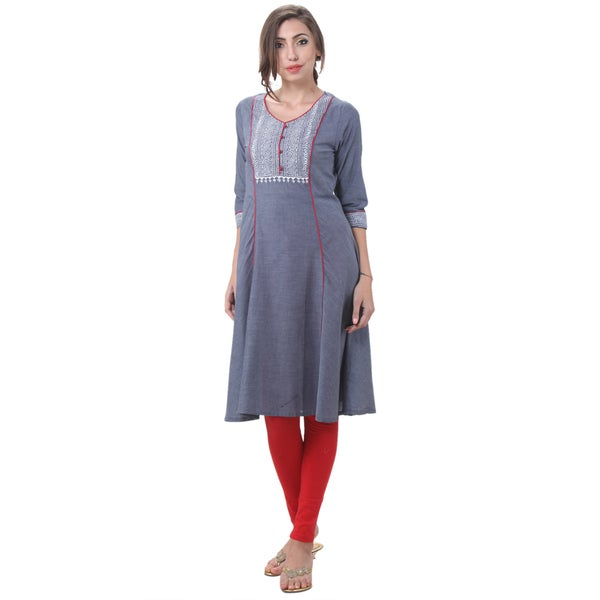 In-Sattva Women's Indian Dashed Line Contrast Piping Kurta Tunic