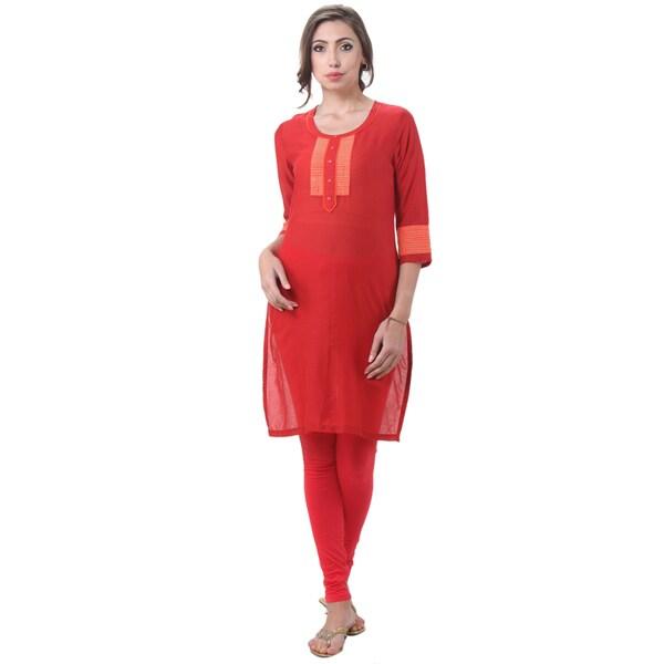 In-Sattva Women's Indian Stitched Stripes Kurta Tunic