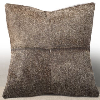 Chauran Del Rey Grey Cowhide/ Suede Feather and Down Filled 16-inch Square Pillow
