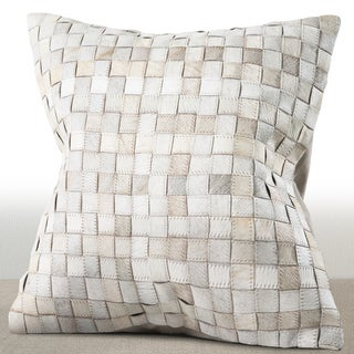 Chauran Adagio Ivory Cowhide/ Suede Feather and Down Filled 18-inch Square Pillow