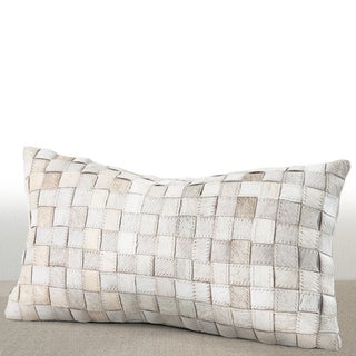 Chauran Adagio Ivory Cowhide/ Suede Feather and Down Lumbar Pillow
