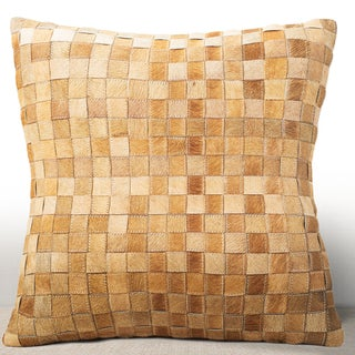 Chauran Adagio Rust Cowhide/ Suede Feather and Down Filled 18-inch Square Pillow