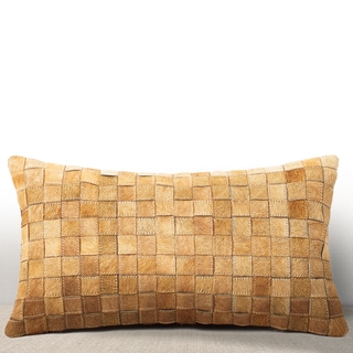Adagio Rust Cowhide/ Suede Feather and Down Filled Lumbar Pillow