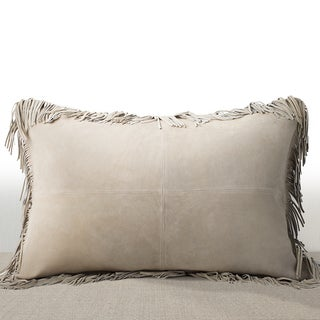 Coronado Sand Suede Luxury Feather and Down Filled Lumbar Pillow with Fringe Border