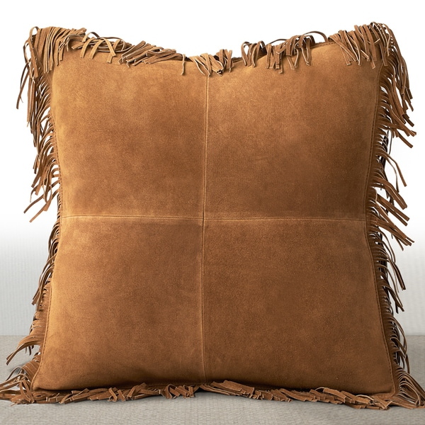 Coronado Rust Suede 20-inch Luxury Feather and Down Filled Pillow with Fringe Border