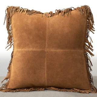 Chauran Coronado Rust Suede Luxury Feather and Down Filled 20-inch Pillow with Fringe Border