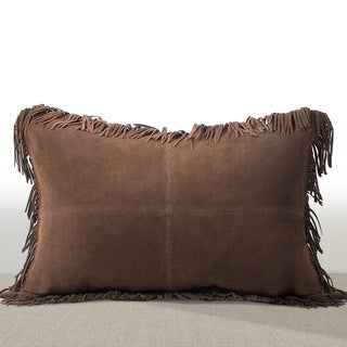 Chauran Coronado Espresso Suede Lumbar Feather and Down Filled Luxury Pillow with Fringe Border