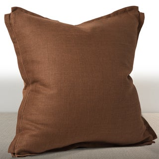Dorian Cognac Linen 20-inch Down and Feather Filled Luxury Throw Pillow