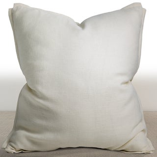 Chauran Dorian Ivory Linen Luxury Down and Feather Filled 26-inch Square Throw Pillow
